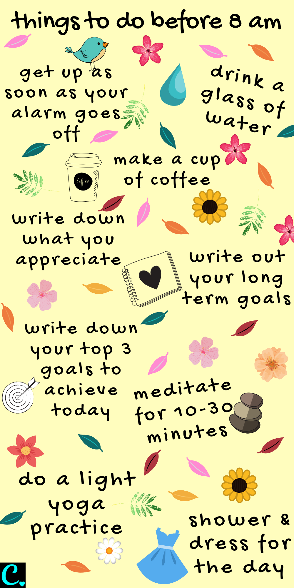 8 Things To Do Before 8am infographic for the best morning routine! #morningroutine #morningcoffee #habits #livewell #morninghabits
