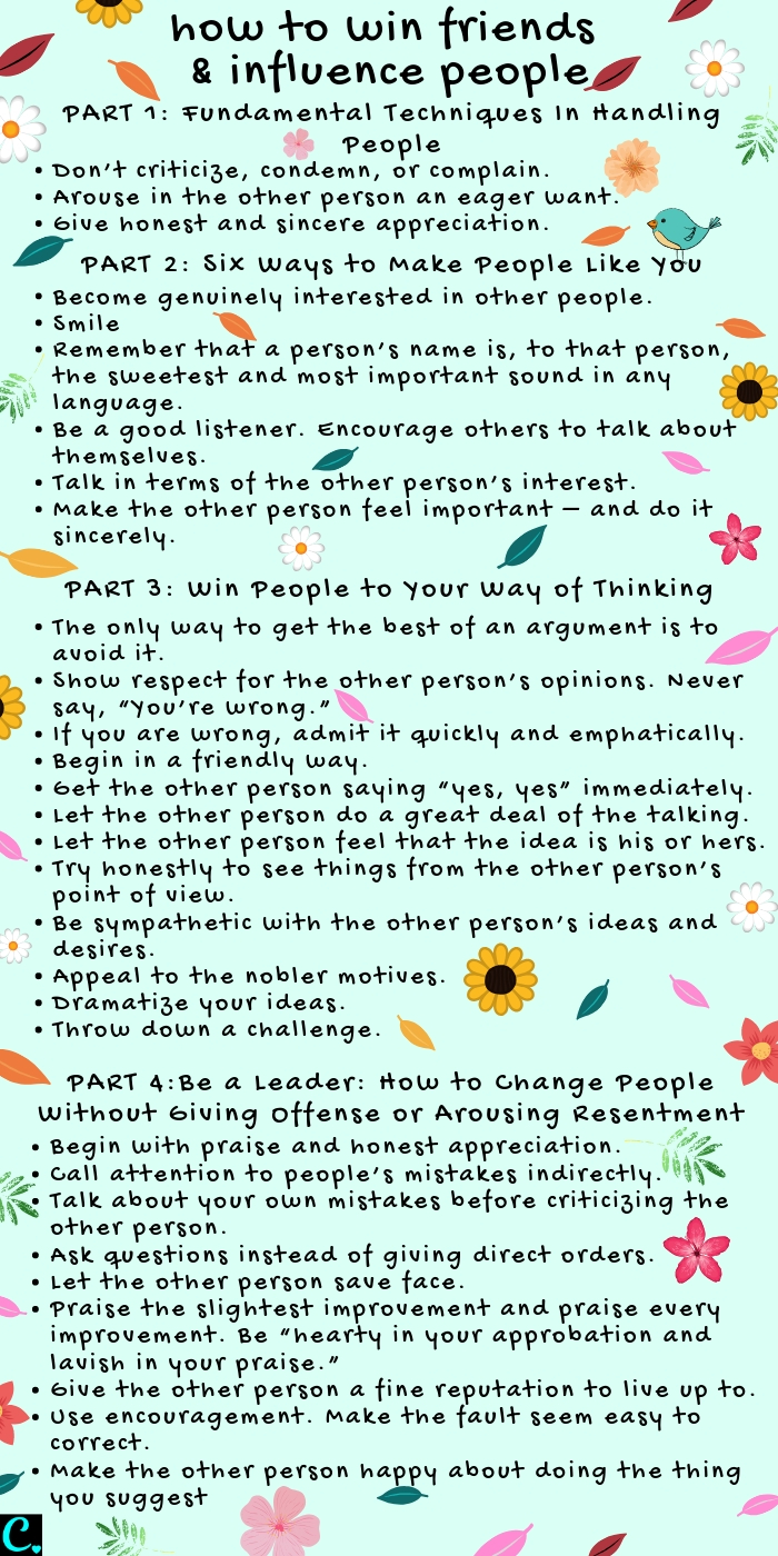 How to win friends and influence people #infographic #dalecarnegie #personaldevelopment #successmindset