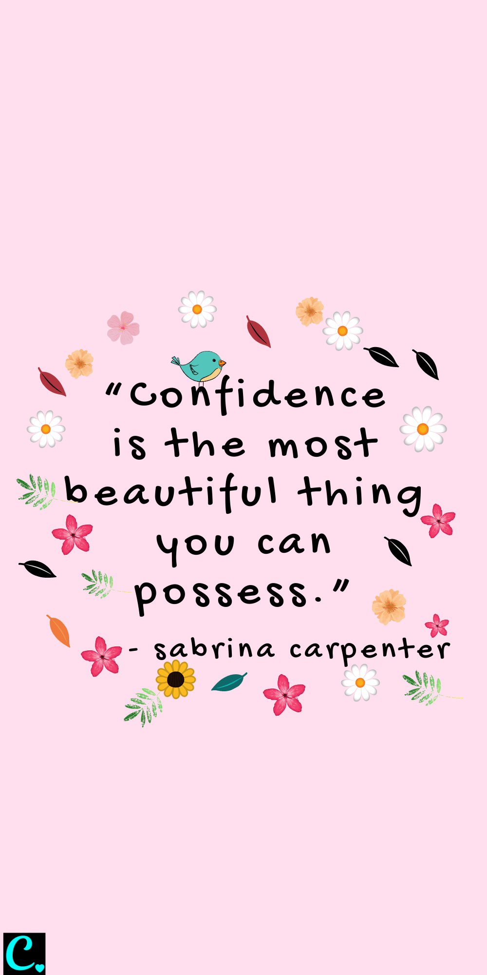 confidence is the most beautiful thing you can possess - glow up quote by Sabrina Carpenter