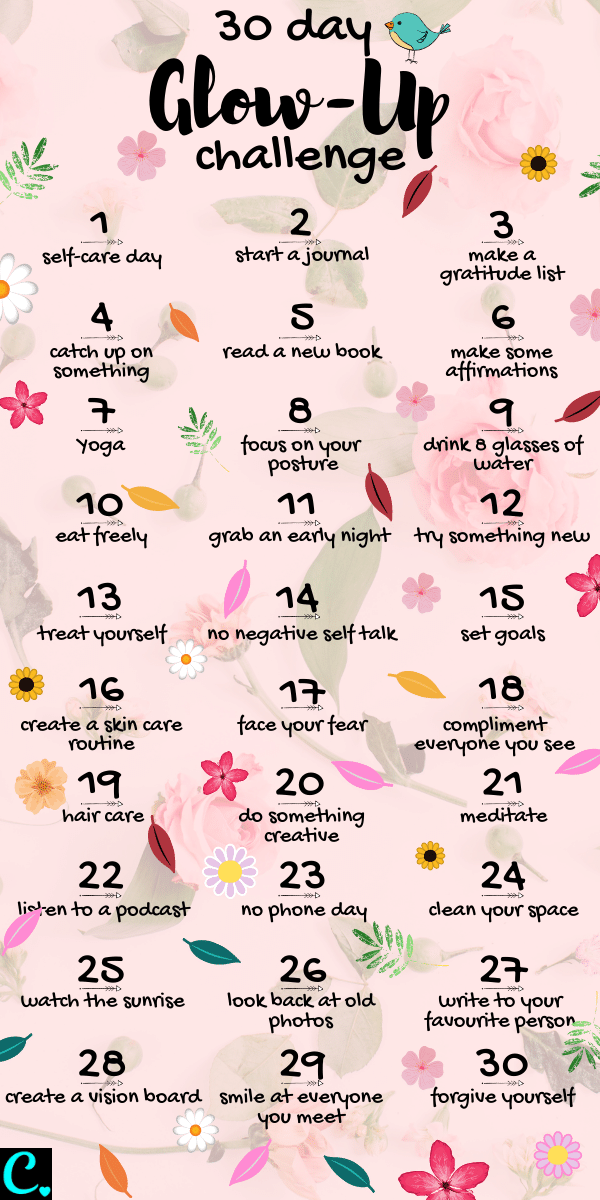 Wondering how to glow-up? Take this 30-day challenge and glow up effortlessly from the inside out! #glowupchallenge #glowupchecklist #30daychallenge