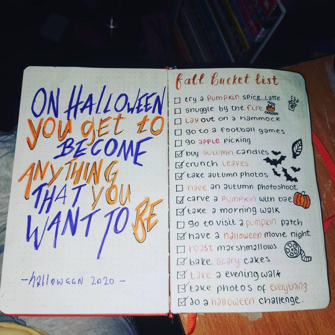 Fall bucket list page