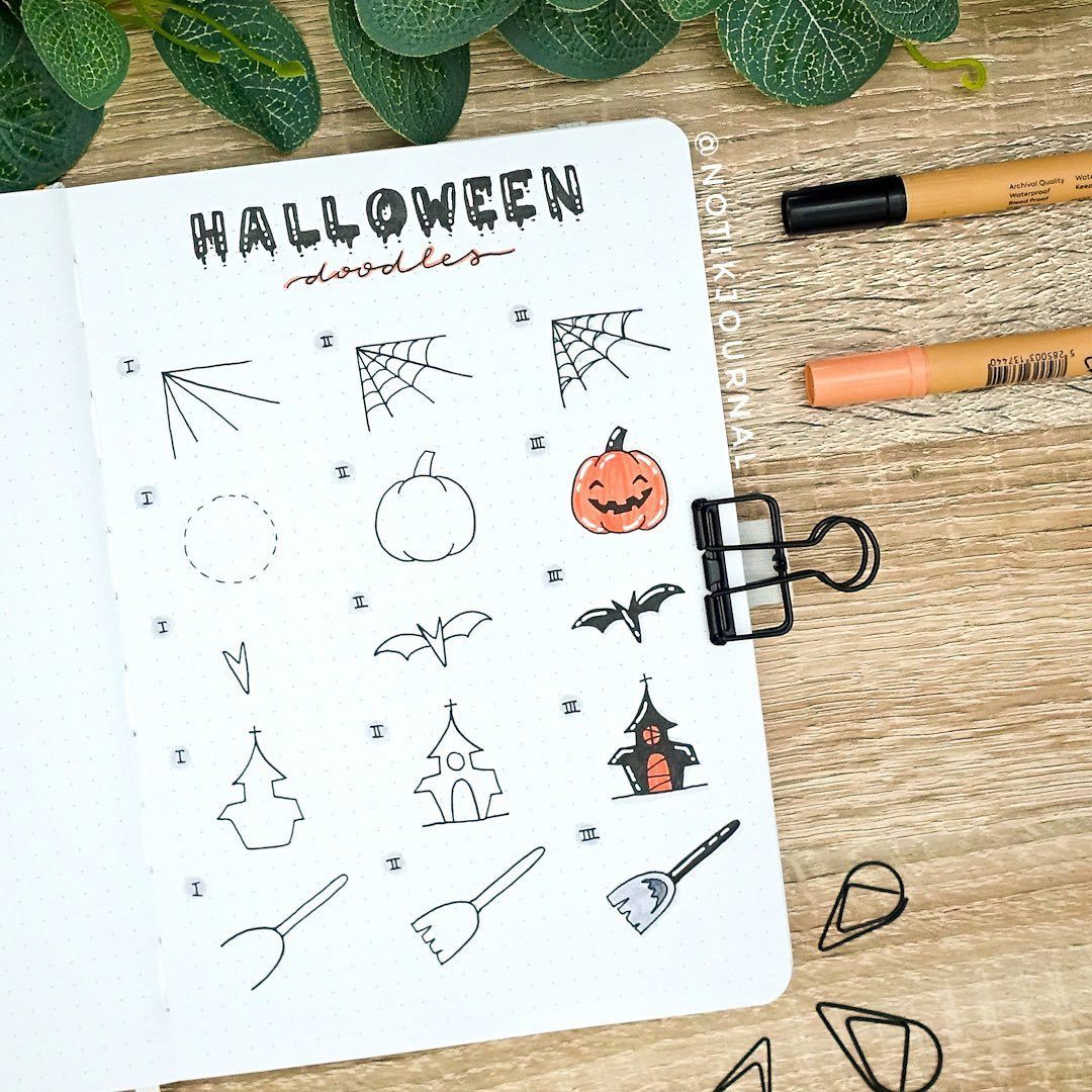 Halloween doodle step by step