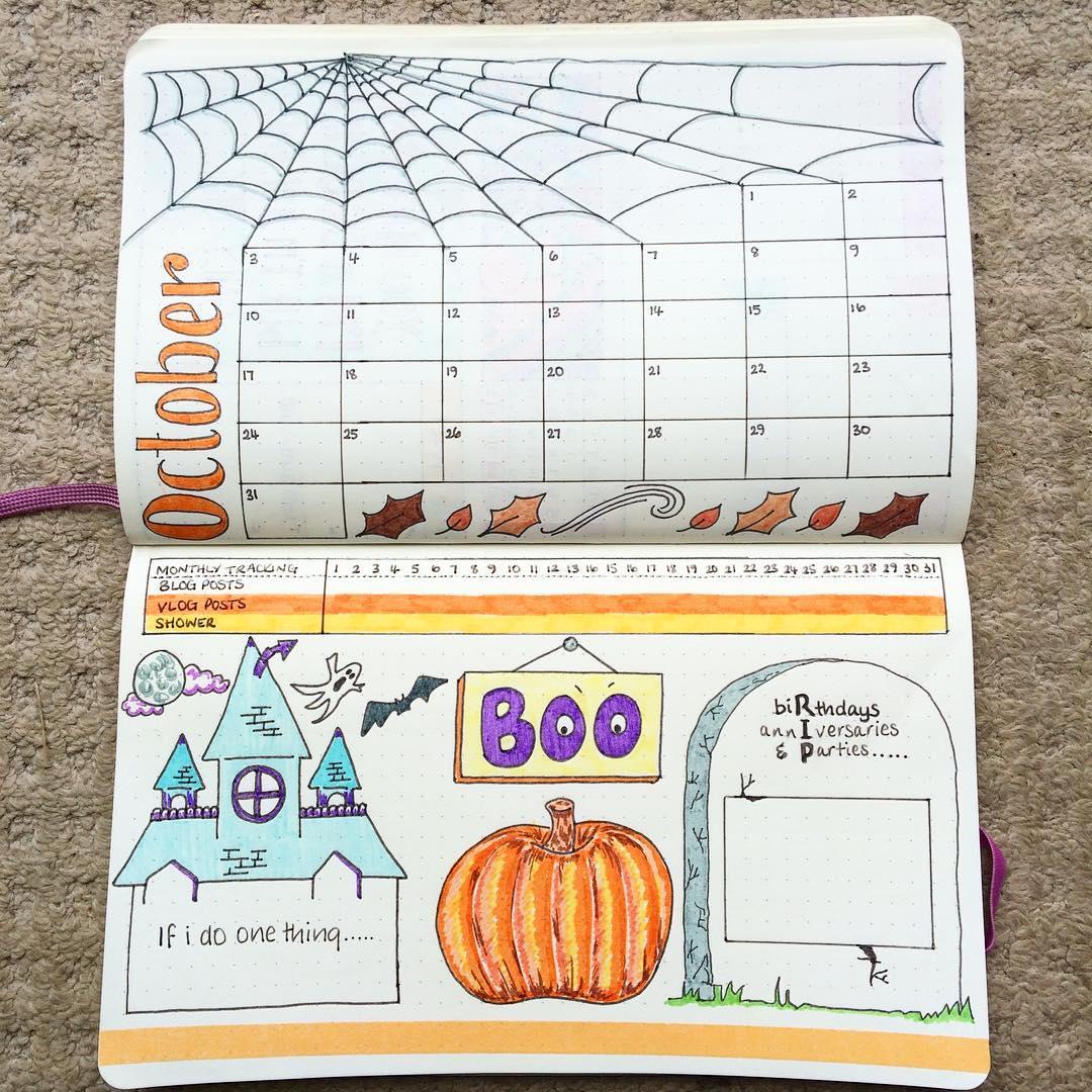 halloween theme monthly spread