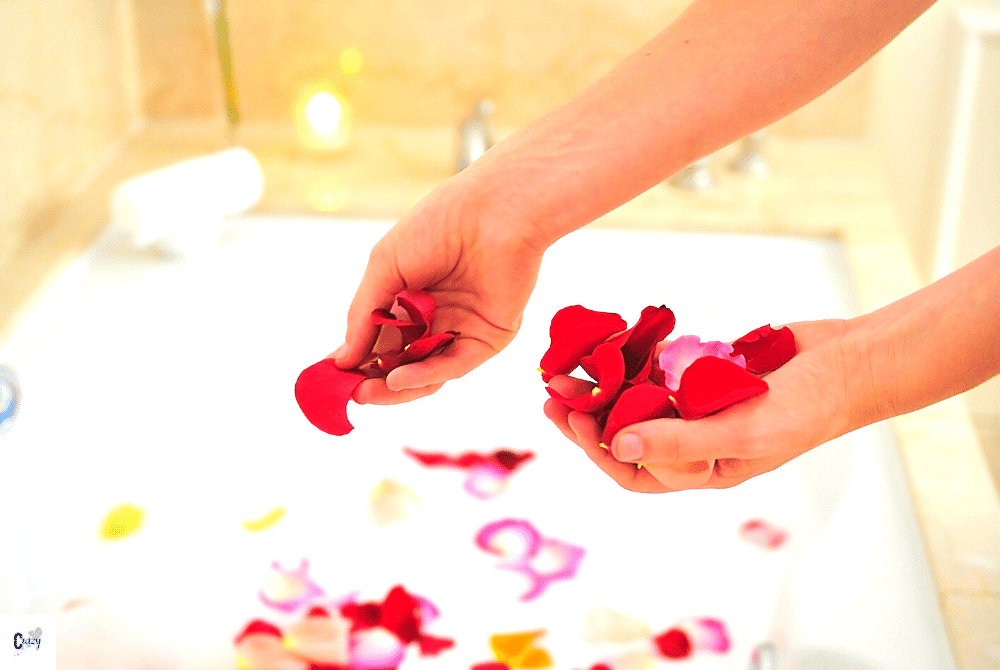 rose petals in a bath tub can help you feel great