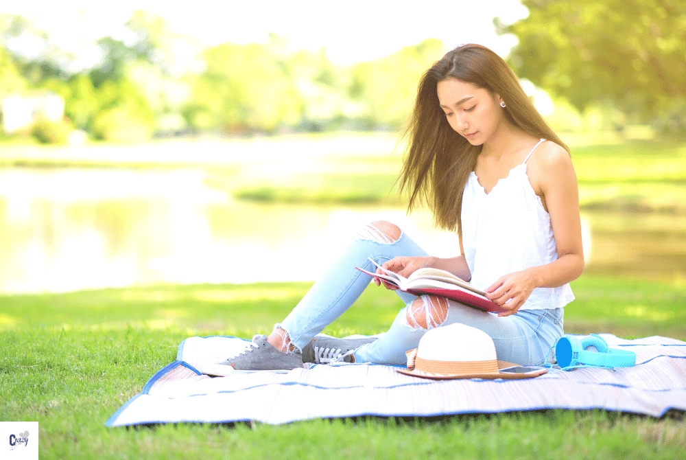 reading is a great self care activity for women