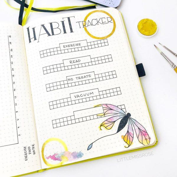 bright yellow habit tracker layout